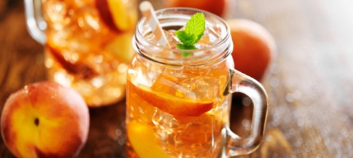 jars filled with sweet peach tea